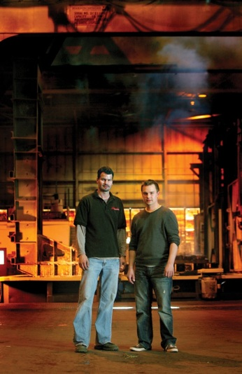Brothers TJ (left) and Jacob Dohlun operate Complete Heat Treating, companion company to Wisconsin Steel Industries, both in the Milwaukee area.  Complete operates open fire furnaces and quench tanks to process large steel castings and forgings, as well as metal fabrications and some aluminum parts.