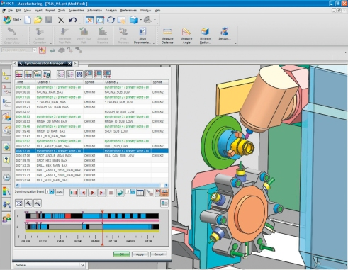 NX CAM programming from Siemens PLM enables realistic simulation of machine tool functions.