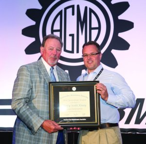 Scott Knoy receives the prestigious Next Generation award from Lou Ertel, Chairman of Overton Chicago Gear and also current Chairman of the Board of Directors for AGMA at the 2014 AGMA annual meeting in Orlando, Florida