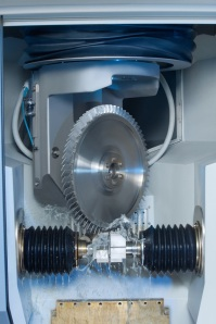 Machining area of an EMAG PO 900 BF for the machining of blisks using Precise Electro-Chemical Machining (PECM) technology.