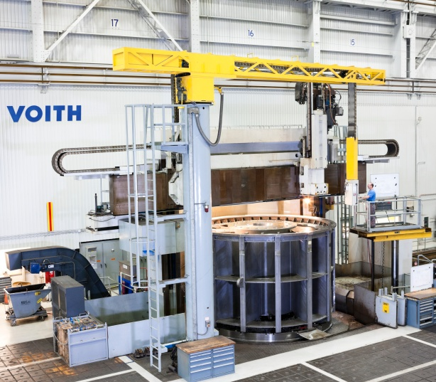 "Despite the large, heavy workpieces and frequent one-off production, Voith Hydro maintains a steady flow of work for its machining, typically holding +/- 0.002"" tolerances on various carbon and stainless steels.  Workpieces here often exceed 25' in diameter."