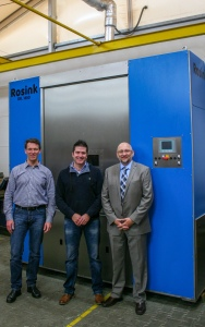 New Rosink front-loading parts washer shown at Rosink factory with (left to right) Jürgen Sünneker and Martin Schoolkate from Rosink, plus Stefan Kloos from GMTA