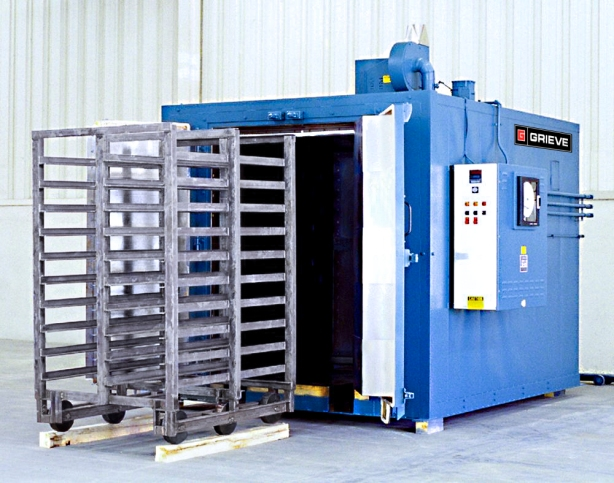 901 electrically-heated walk-in oven from Grieve, currently used for heat treating | Grieve Corp