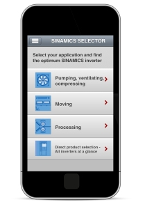 The Sinamics Selector app helps you to select a suitable drive in just a few simple steps and also suggests alternative options.